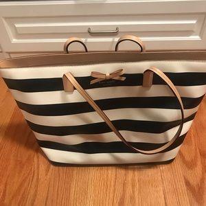 Kate Spade tote black and white stripe